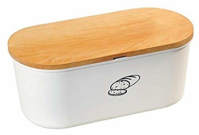 Duży chlebak z deską do krojenia biały KESPER