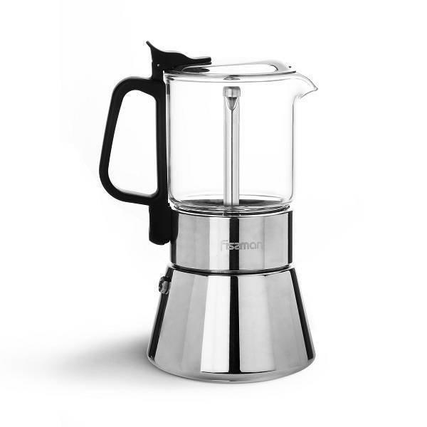 Kawiarka Moka zaparzacz espresso Fissman 6 filiżanek stal+szkło (360ml) indukcja
