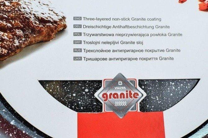Patelnia Vinzer z pokrywą 24 cm Premium Granite Line