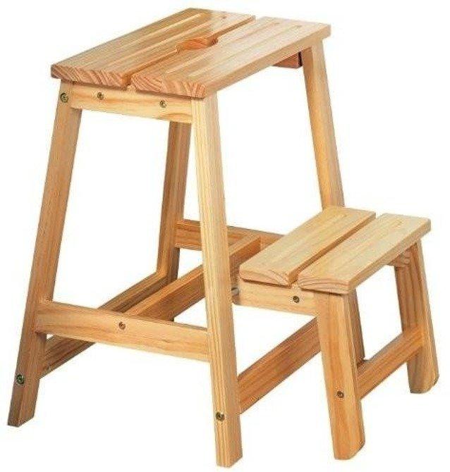 Składany stołek drabinka z drewna sosnowego Kesper 49cm