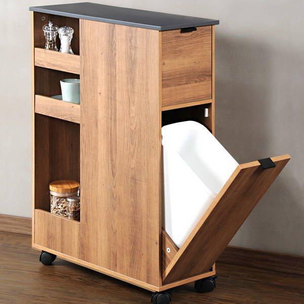 Szafka łazienkowa / regał kuchenny na kółkach Kesper 60x25x86cm drewno tekowe