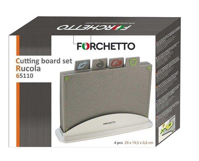 Zestaw desek do krojenia Forchetto Rucola 4szt 29x19.5 cm w podstawce